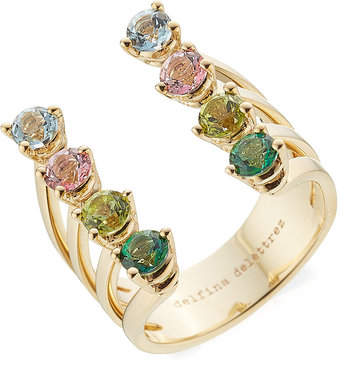 Delfina Delettrez 9kt Gold Ring with Topaz and Peridot