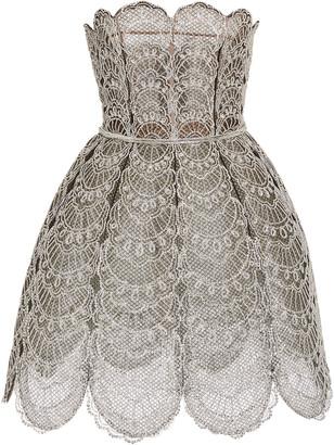 Oscar de la Renta Broderie Anglaise Strapless Mini Dress