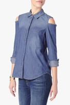 7 For All Mankind Long Sleeve Cold Shoulder Shirt In Authentic Vista Blue