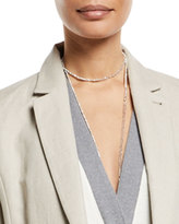 Brunello Cucinelli Silver Variegated Single Strand Lariat Necklace