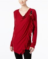 INC International Concepts Petite Ruffled Draped Sweater, Only at Macy's