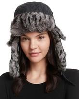 Surell Quilted Aviator Hat with Rabbit Fur Trim