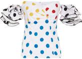 Caroline Constas Louisa Off-the-shoulder Embroidered Polka-dot Cotton Top - White