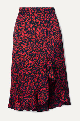 Maje Javie Ruffled Floral-print Satin Skirt - Black