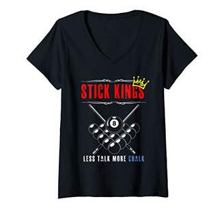 Pool' Womens 8 Ball Pool Billiards Funny Stick King Player Tee Gift V-Neck T-Shirt