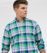 Polo Ralph Lauren Big & Tall player logo check oxford button down shirt in green