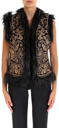 MICHAEL Michael Kors Fur Trim Embroidered Gillet
