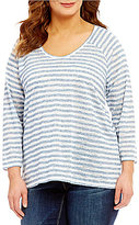 Vince Camuto Two by Plus Sheer Stripe Scoop Neck Pullover