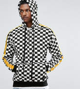Sixth June TALL Hoodie In Checkerboard With Yellow Stripe