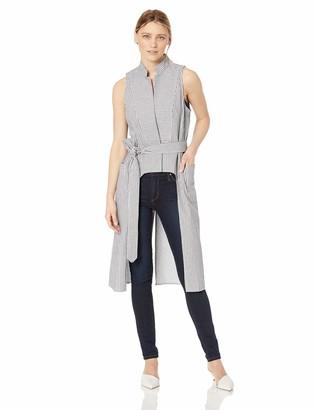 BCBGeneration Women's Railroad Stripe Long Vest