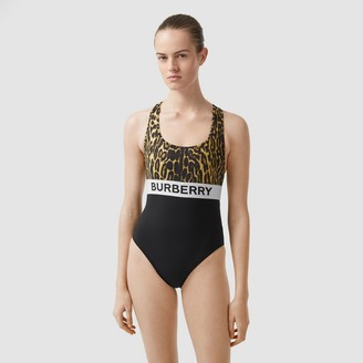 Burberry ogo and eopard Print Swimsuit