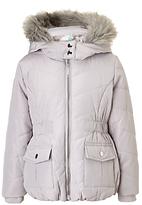 John Lewis Girls' Faux Fur Trim Hooded Coat, Silver