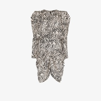 Isabel Marant Pouf sleeve zebra print silk dress