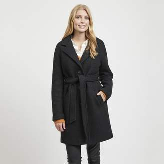 Vila Long Wool Mix Single-Breasted Coat with Belt and Pockets