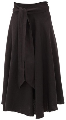 Fil De Vie Tetouan Linen Wrap Skirt - Black