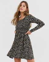 New Look long sleeve ditsy dress in dark florals