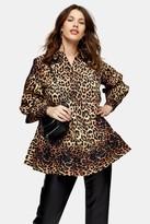 Topshop Womens Leopard Print Blouse - Yellow