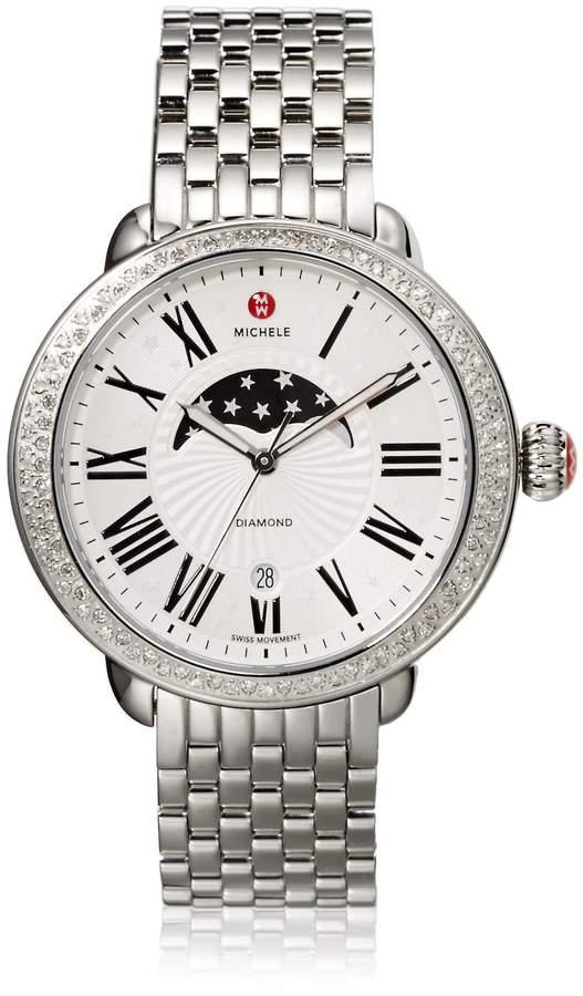 Michele Women's 'MWW21D000002' Quartz Stainless Steel Watch, Color:d (Model: MWW21B000001)