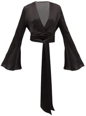 Galvan Corolle Tie-front Crinkled-crepe Blouse - Black