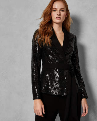 Ted Baker POLLII Sequin jacket with tie belt
