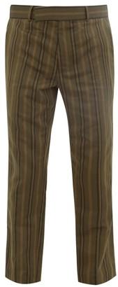 Haider Ackermann Stripe-jacquard Cotton-blend Trousers - Mens - Dark Khaki