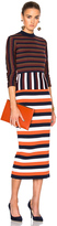 Victoria Beckham Compact Wool Striped Deconstructed Dress