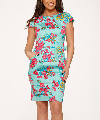 HEARTS & ROSES LONDON Women's Cocktail Dresses Mint - Mint Floral Cap-Sleeve Sheath Dress - Women