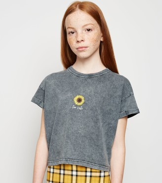 New Look Girls Acid Wash Sunflower Slogan T-Shirt