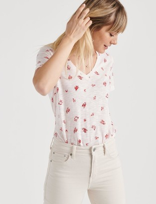 Lucky Brand V Neck Floral Printed Tee