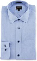 Neiman Marcus Classic-Fit Non-Iron Textured Dress Shirt, Blue/White
