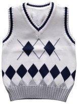 Happy Cherry Unisex Boys Girls Waistcoat V-Neck Argyle Sweater Vest 3T