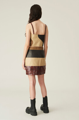 Ganni Lamb Leather Mini Skirt