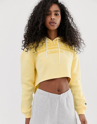 Lonsdale London cropped logo hoodie in yellow