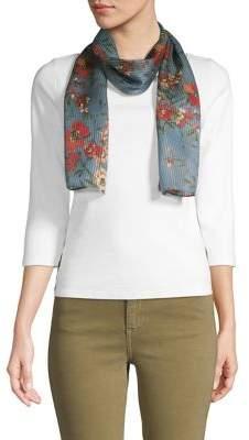 Echo Pleated Floral Silk Scarf