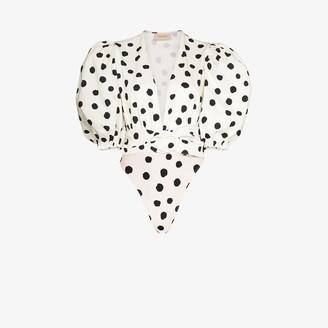 Adriana Degreas Puff Sleeve Belted Polka Dot Bodysuit