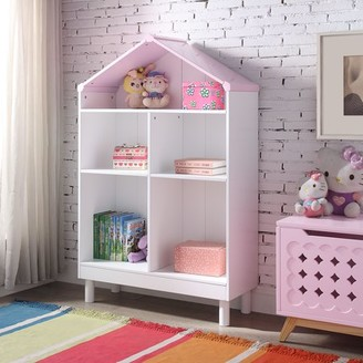 ACME Furniture Acme Doll Cottage Wooden Frame Bookcase in White and Pink
