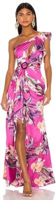 PatBO Grace Print One Shoulder Maxi Dress