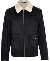 River Island MensDark blue shearling collar jacket