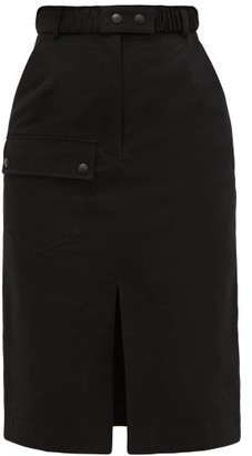 Symonds Pearmain - High-rise Belted Cotton Pencil Skirt - Womens - Black
