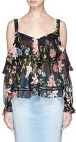 Nicholas 'Savanna' floral print silk chiffon cold shoulder top