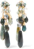 Rosantica Rifugio Gold-tone Agate Clip Earrings - Green