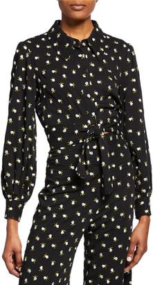 Jill Stuart Floral Button-Front Long-Sleeve Tie-Hem Crop Top