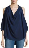 Haute Hippie V-Neck Cold Shoulder Silk Top