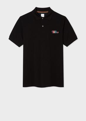 Paul Smith Men's Black Cotton-Pique Polo Shirt With 'Paul Smith' Embroidery