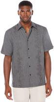 Cubavera Short Sleeve Chambray Tucks Embroidered Shirt