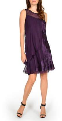 Komarov Flyaway Sleeveless Charmeuse Dress with Shawl