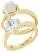 Cole Haan Studded 12K Gold-Plated Ring- Set of 2