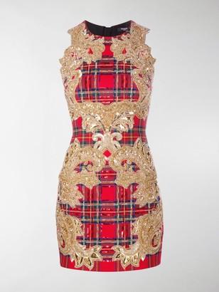 Balmain Sequin-Embellished Plaid Cocktail Dress