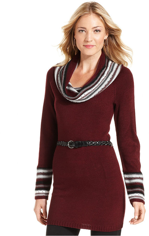 NY Collection Dress, Long-Sleeve Belted Cowl-Neck Sweater