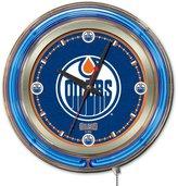 Holland Bar Stool NHL Edmonton Oilers Double Neon Ring 15-Inch Diameter Logo Clock